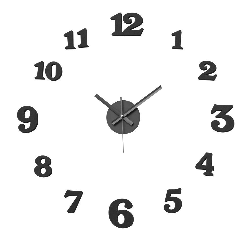 Reloj Wall Sticker Negro 60 X 60 Cm