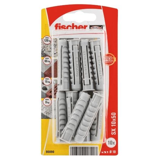 Taco de expansión Fischer SX 10 x 50 K con reborde