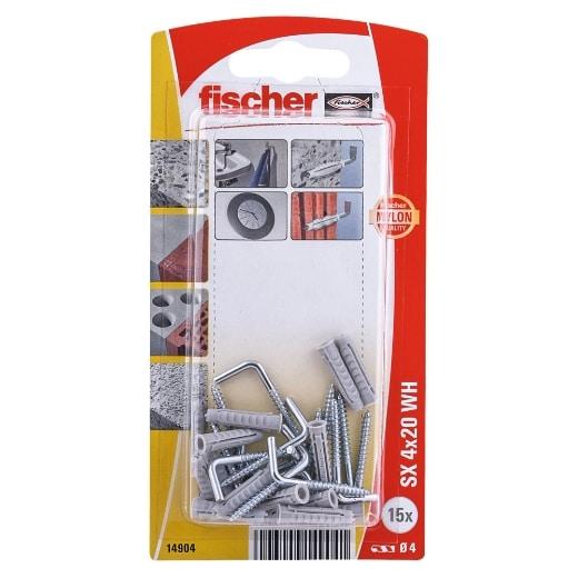 Taco de expansión Fischer SX 4 x 20 H con alcayata K