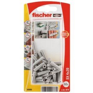 Taco de expansión Fischer SX 4 x 20 con reborde
