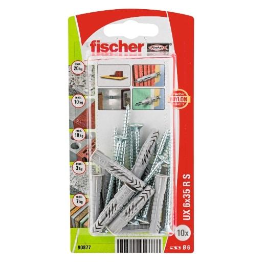 Taco universal FischerUX 6 x 35 RS K con reborde y tornillo