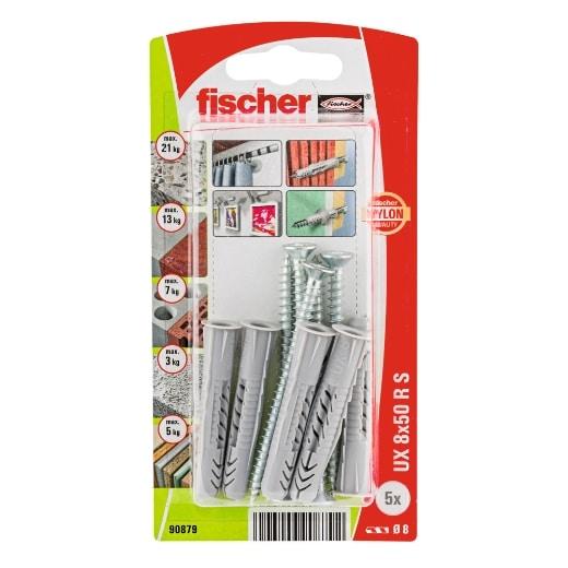 Taco universal FischerUX 8 x 50 RS K con reborde y tornillo