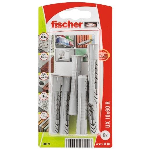 Taco universal FischerUX 10 x 60 R K con reborde