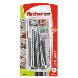 Taco universal FischerUX 10 x 60 RS K con reborde y tornillo