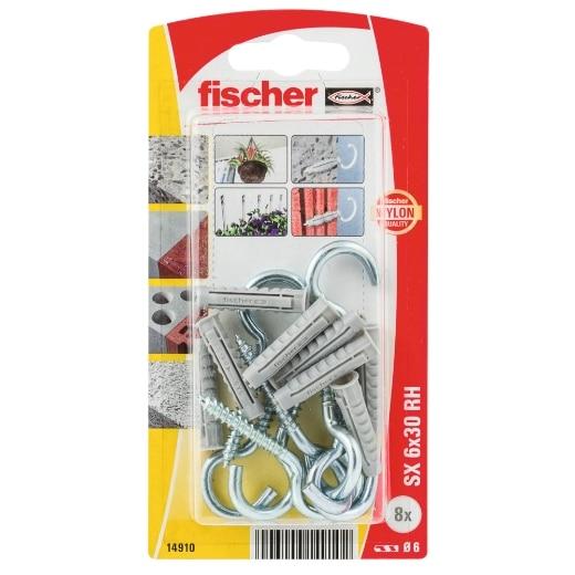 fischer Taco de expansión SX 6 x 30 RH con hembrilla abierta