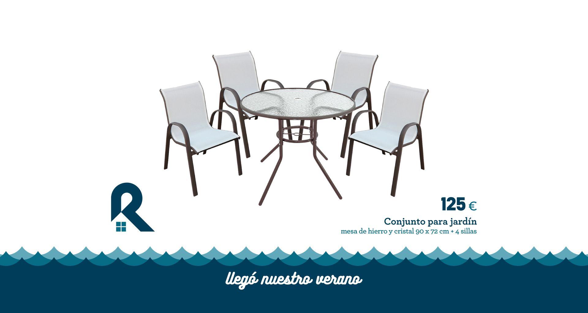 conjunto jardín mesa hierro cristal sillas